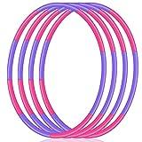 4 Pack Hoola Hoop for Kids, Size Adjustable & Detachable Length Hoola Hoop Plastic Toys for Kids Adults Party...