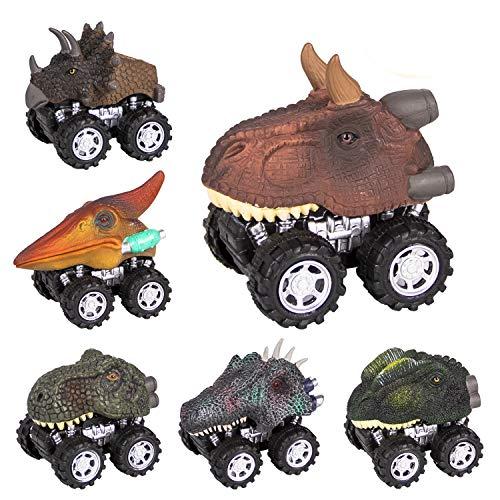 sanlinkee Dinosaurier Ziehen Autos zurück - 6 Pack Zurückziehen Dinosaurier Autos Spielzeug Pädagogisches Geschenk für Kinder