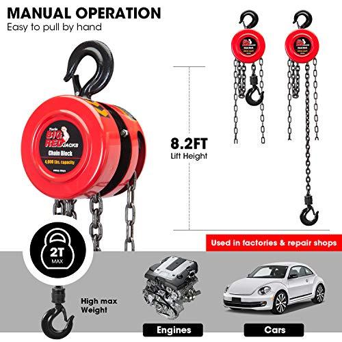 BIG RED TR9020 Torin Manual Hand Lift Steel Chain Block Hoist with 2 Hooks, 2 Ton (4,000 lb)...