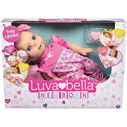 Luvabella 6047317 - Newborn - interaktive Baby Puppe (43 cm) mit blonden Haaren, realistischer Mimik und Bewegungen