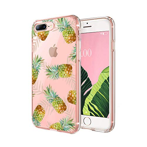 cocomong Pineapple Phone Case Compatible with iPhone 8 Plus Case Pineapple iPhone 7 Plus Case for Girls, Cute Pineapple Gifts for Women Men, Clear Soft TPU Cover Thin Slim Shockproof Protective 5.5'