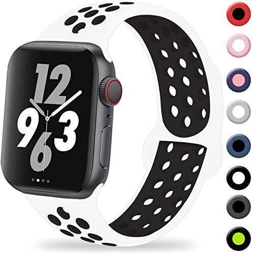VIKATech Compatible con Apple Watch Correa 44mm 42mm, Correa Deportiva Reemplazo clásico de Silicona Suave Transpirable para iWatch Series 5/4/3/2/1, M/L, Blanco/Negro