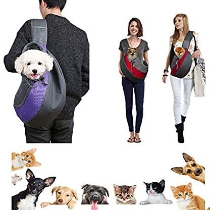 ZHOVAEAL Pet Carrier Dog Cat Hand Free Sling Carrier Outdoor Travel Sling Shoulder Bag for Dogs Cats Walking Subway Daily Use (Fits Small Animals Less Than 9lb Pink) 7