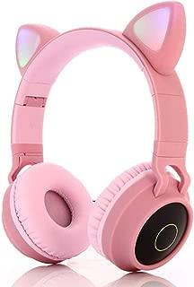 Bluetooth Headphones,Wireless Headphones,Headphone Over Ear,Kids Headphones,Cat Ear LED Light Up Bluetooth Foldable Headphones (Pink)