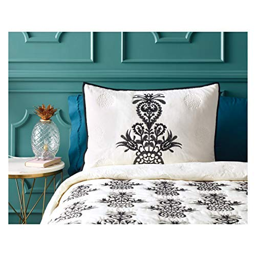 Opalhouse Mallorca Embroidered Ornament Standard Sham Black/Cream 100% Cotton
