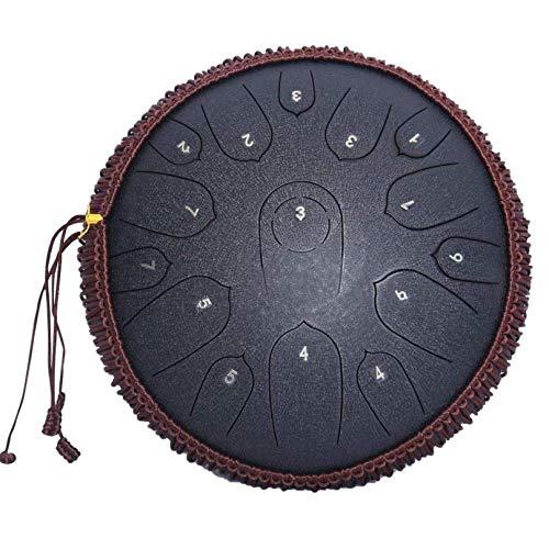 RUIXFFT Tambor De Lengua De Acero, Tambor De Percusión De Mano De 14 Pulgadas, Instrumento De 15 Baquetas Tuneadas, con Bolsas De Transporte, Black