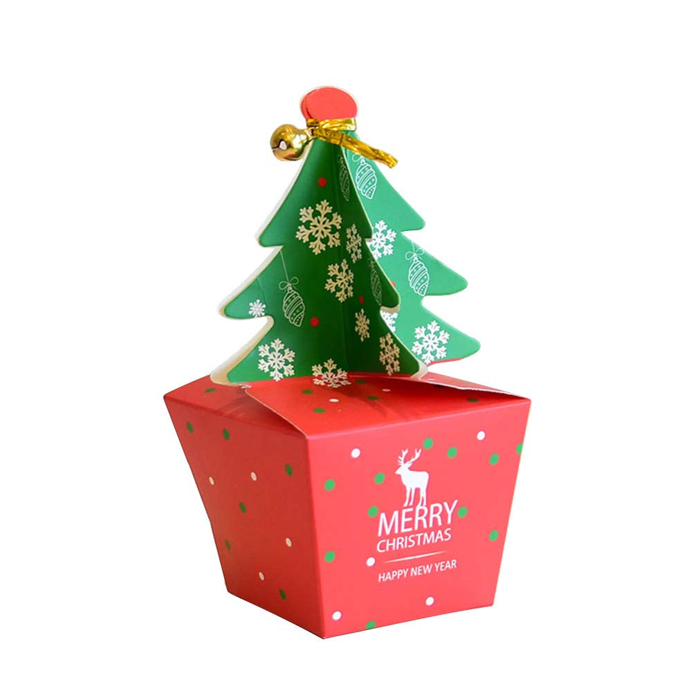 STOBOK Cajas Patrón de árbol de Navidad Cajas de Dulces con Campana para Navidad Tamaño Pequeño 10 Piezas: Amazon.es: Juguetes y juegos