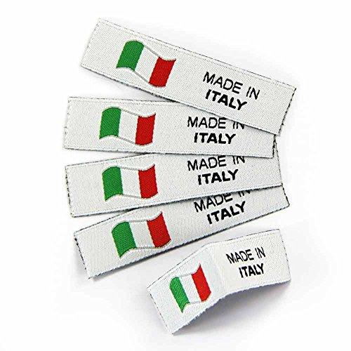 namensbaender Textiletiketten Made in Italy, Webetiketten, Stoffetiketten für Handarbeit (5, Polyester)