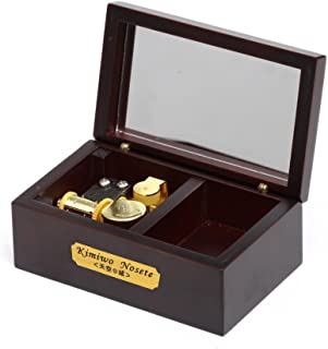 YouTang 18 Note Wind-up Wooden Musical Box with Mirror, Gold Musical Movement, Model M33 (Claret,Melody:Lilium from Elfen Lied)