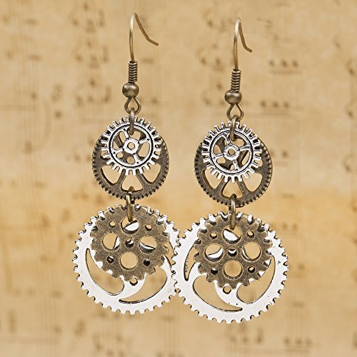FXmimior Steampunk Antik Bronze Ohrringe Vintage Gear baumelnde Ohrringe Frauen Ball Party Schmuck