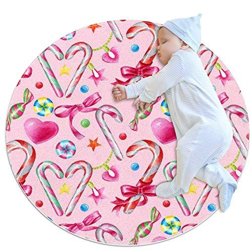 chuangxin snoepjes, Lollipops, Hart En Sterren, Ultra Zacht Katoen Baby Kids Tapijt Rond Rond Ruimtetapijt Peuter Game Playmat Diameter,27.6x27.6IN