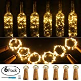 wine cork decorations - Wine Bottle Lights with Cork 20 LED Copper Wire String Lights, Pack of 6 Battery Operated Starry String Led Lights for Bottles DIY Christmas Wedding Party Decoration (Warm White)