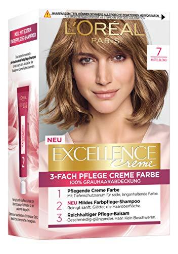 L'Oréal Paris Excellence Crème 7 Mittelblond 3er Pack(3 x 268 g)
