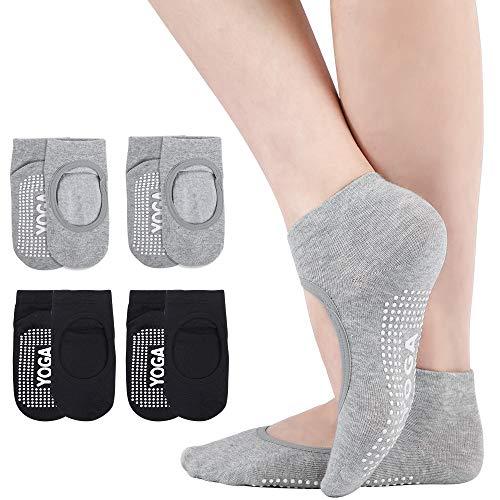 Bezioner 4 Paar Damen Yoga Socken rutschfeste für Yoga,Pilates,Barre,Ballett,Tanz,Gymnastik,Trampolin Schwarz+Grau
