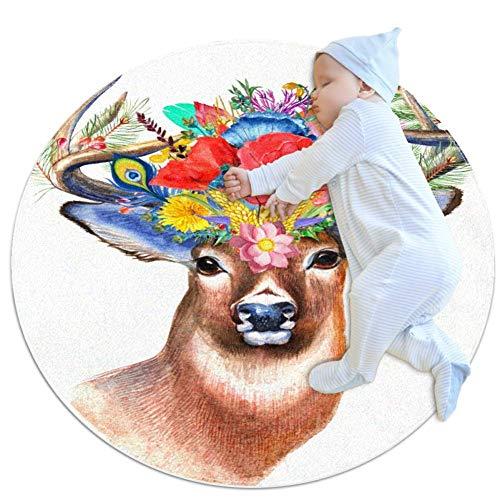 CHINFY - Felpudo de flores silvestres con flores boho, redondo, lavable, antideslizante, para sala de estar, cocina, dormitorio, decoración del hogar, 2,62 pies