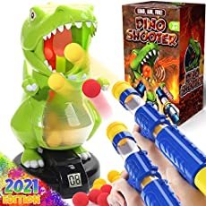 Dinonano Dinosaur Toys Shooting Games Set for Kids - T rex Robot Dino Target LCD Score Monitor with Sound 2 Air Pump Toy Guns and 24 Eva Foam Balls Cool Boys Girls Toys Ages 6 7 8 9+ Years Old