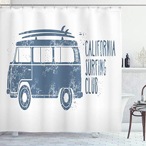 ABAKUHAUS RV Duschvorhang, California Surfing Club-Klassiker, Hochwertig mit 12 Haken Set Leicht zu pflegen Farbfest Wasser Bakterie Resistent, 175x180 cm, Schiefer-Blau