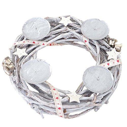 Mendler Adventskranz rund, Weihnachtsdeko Tischkranz, Holz Ø 30cm weiß-grau - ohne Kerzen