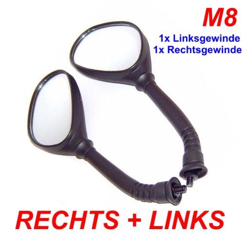 gy6-ersatzteile_de SPIEGEL SET LINKS & RECHTS mit M8 Rechts- & Linksgewinde z.B. für BAOTIAN REX PEUGEOT YIYING KYMCO CHINAROLLER