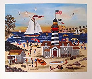 Leos Coffers Artwork by Jane Wooster Scott Beacon On The Beach Hand Signed Limited Ed. Lithograph Print. After The Original Painting or Drawing. Paper 13 1/2 Inches X 15 1/4.