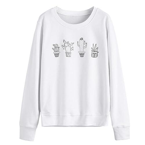 Hansee Women Cute Cactus Printed Sweatshirt Pullovers Long Sleeve T-Shirt  Jumper 26f0e859c
