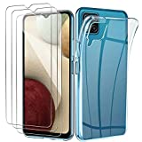 Yoowei Funda Compatible con Samsung Galaxy A12 Funda + [3-Pack] Cristal Templado, Transparente Suave Delgado TPU Silicona Carcasa con 2 Unidades Protector de Pantalla de Vidrio Templado para A12