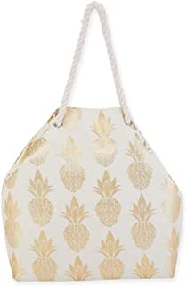 Gold Pineapple on Canvas Tote with Rope Handles