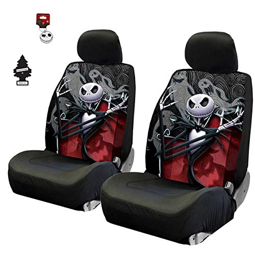 Yupbizauto New 4 Pieces Nightmare Before Christmas Jack Skellington Ghostly Car Truck SUV Low Back Seat Covers Set with Air Freshener