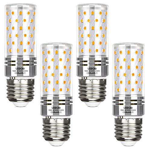 LEDGLE E27 LED Lampe, 15W 1500LM 3000K Warmweiß Glühbirne LED statt 100W Halogenlampen, 84LEDS Mais Glühlampe Birnen Maiskolben Leuchtmittel Kleine Kerze Licht, AC 220-240V Kein Flackern, 4er Pack