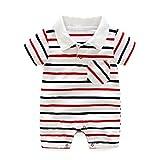 Baby Strampler Polo Body Neugeborenen Sommer Kurzarm Jungen Mädchen Gestreiften Overall Outfits, 3-6 Monate