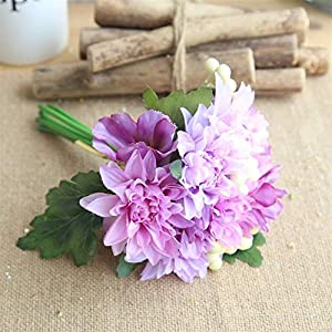TRRT Fake Plants Artificial Flower Dahlia Berry Bouquet, Silk Daisy Green Leaf Home Decoration Wedding Flower Wall Fake Flowers Fake Flower