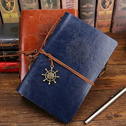 MALAT Cuaderno En Espiral Bloc De Notas Diario Anclas Piratas Vintage Cuaderno De Notas De Cuero PU Papelería Reemplazable-Caqui Oscuro, A3
