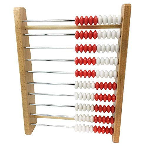hand2mind 100-Bead Wooden Rekenrek Abacus, Colored Abacus for Kids Math, Wooden Counting Math Manipulatives, Bead Counters for Kids Math, Learn Counting and Numbers, Homeschool Supplies (Set of 1)