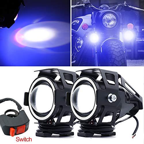 CREE U7 Faretti LED Moto,Biqing 2Pcs Fari Moto LED Faretto Anteriore 12V 24V LED Spotlight Faro Supplementare Motocicletta Lampada Antinebbia 6000K con Interruttore(Blu)