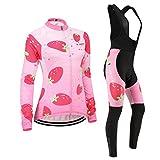 (Cojín 3D)(traje(Forro polar & strap negro) tamaño:L) Moda transpirable de rendimiento los ciclismo mujer larga Jerseys sudo chaleco maillot manga ropa rompevientos para