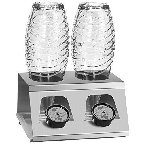 Amison Escurreplatos de acero inoxidable con bandeja de goteo, sin rebabas, para botellas de soda, botellas de cristal, etc. Apto para lavavajillas (2 unidades)
