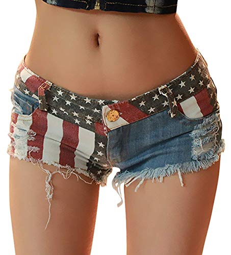 chouyatou Women's Low-Rise American Flag Print Daisy Duke Ripped Denim Shorts (Large, Blue)