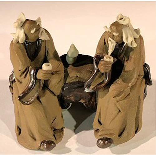 Bonsai Boy Ceramic FigurineTwo Mud Men Sitting On A Bench Drinking Tea - 2.5