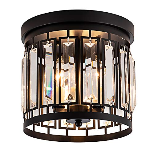 Larootsi Elegant Crystal Flush Mount Chandelier Fixture with K9 Crystal 3E12 Bulb Base Modern Close to Ceiling Light Fixture for Bar Kitchen Hallway Dining Room Living Room Black