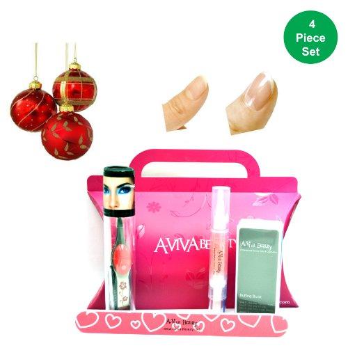 Trend Tweeze Lighted Pince à épiler en rose Floral + Aviva à ongles kit (Ensemble d'éléments de 4)