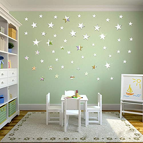 OOTSR 32Pcs Star Wall Stickers, Mirror Stickers Wall Art, Acrylic Mirror Setting Wall Sticker Decal for Home Living Room Bedroom Decor
