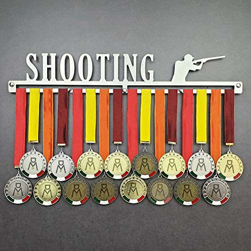 Shooting - Medagliere da Parete - Porta medaglie Tiro al Volo - Piattello - Sport Medal Hanger - Display Rack (750 mm x 115 mm x 3 mm)
