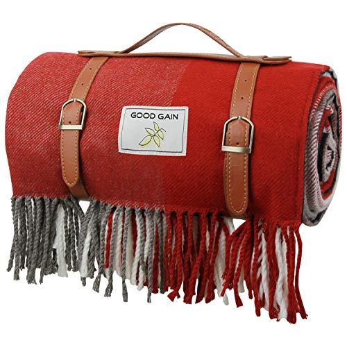 Good Gain Picknickdecke aus Wolle, wasserfeste Unterlage mit Griff, 60
