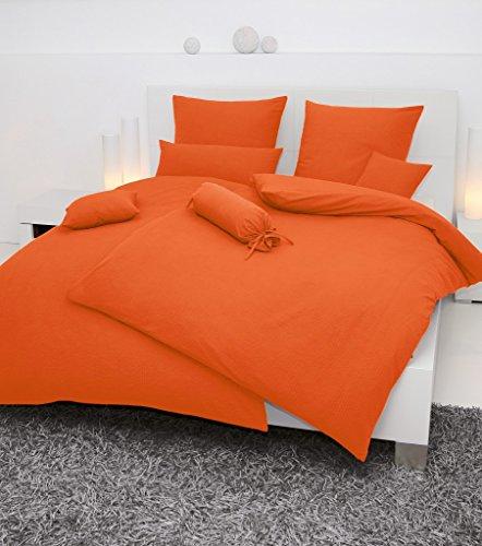 Janine Mako-Soft-Seersucker, Uni Piano 135 x 200 cm + 80 x 80 cm orange Fb. 54