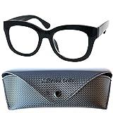 Gafas de Lectura Retro con Grandes Lentes, Funda Gratis, Montura Gruesa el Plástico (Negra) con Bisagra de Resorte, Gafas Mujer y Hombre +1.5 Dioptrías