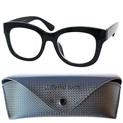 Gafas con Filtro de Luz Azul Retro con Grandes Lentes, Funda GRATIS, Montura Gruesa el Plástico (Negra), Gafas para Ordenador, Gafas de Lectura Mujer y Hombre +1.5 Dioptrías
