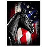 TSlook Throw Blankets Fleece Blanket for Sofa Bed Black Horse Retro American Flag Knight 60' x 80'