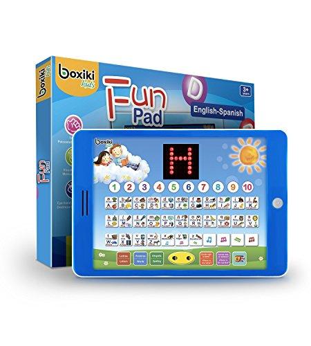 Boxiki kids Tablet Giocattolo didattico bilingue Spagnolo-Inglese con Schermo LCD Digital Display per insegnare ai Bambini di Spagnolo e Inglese. Alfabeto, ortografia, Giochi, Melodie Divertenti