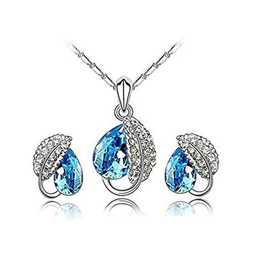 Joy fulshine Mujer Azul joyas Juego colgante hojas collar y pendientes cristal joyas