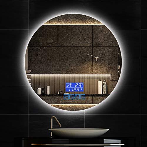 GETZ Espejo de Baño LED Redondo, Espejo de Baño Moderno, Espejo de Maquillaje con Sensor de Control Táctil, a Prueba de Polvo y Antivaho, Múltiples Opciones